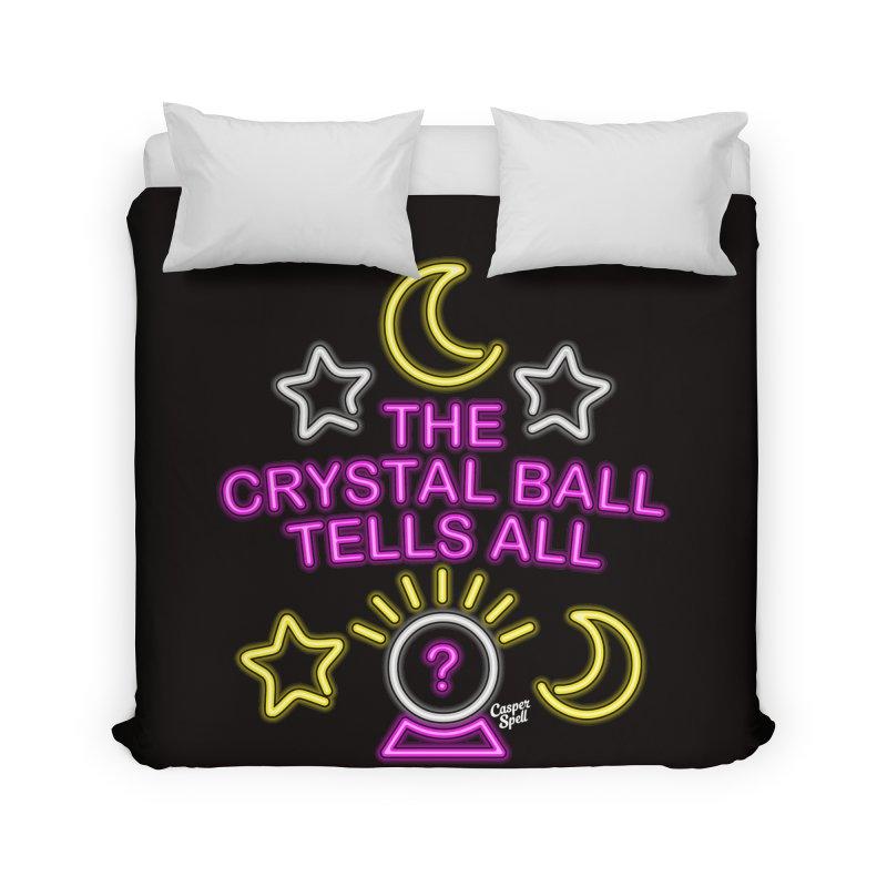Neon Psychic Crystal Ball Tells All Home Duvet by Casper Spell's Shop