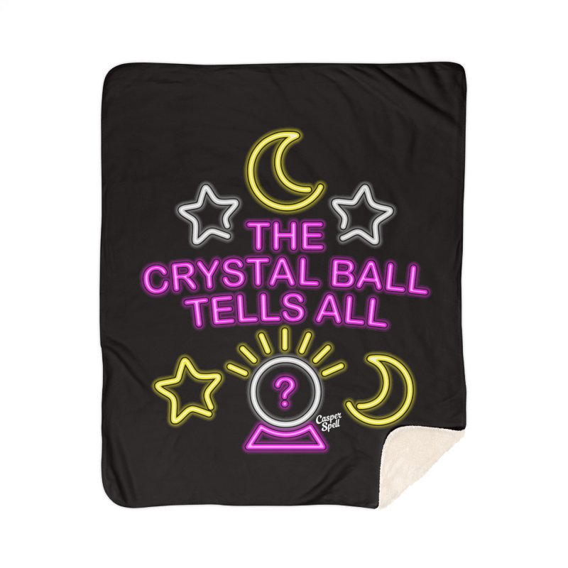 Neon Psychic Crystal Ball Tells All Home Sherpa Blanket Blanket by Casper Spell's Shop