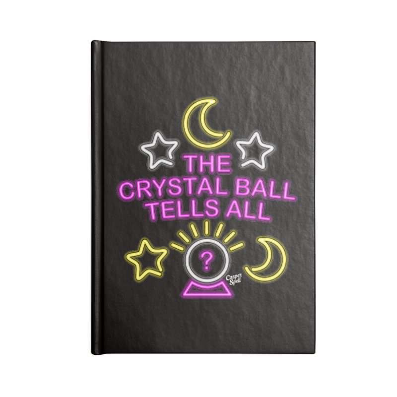 Neon Psychic Crystal Ball Tells All Accessories Lined Journal Notebook by Casper Spell's Shop