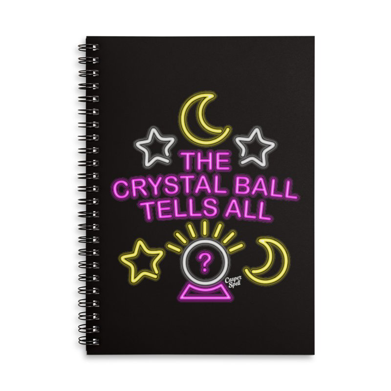 Neon Psychic Crystal Ball Tells All Accessories Lined Spiral Notebook by Casper Spell's Shop