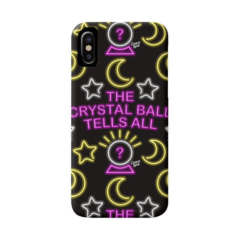 Neon Psychic Crystal Ball Tells All Accessories Phone Case by Casper Spell's Shop