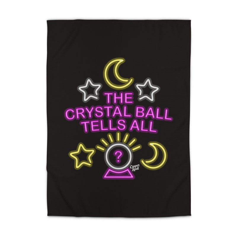 Neon Psychic Crystal Ball Tells All Home Rug by Casper Spell's Shop