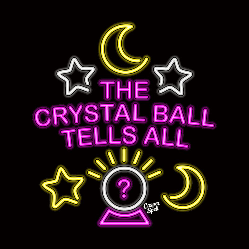 Neon Psychic Crystal Ball Tells All Home Stretched Canvas by Casper Spell's Shop