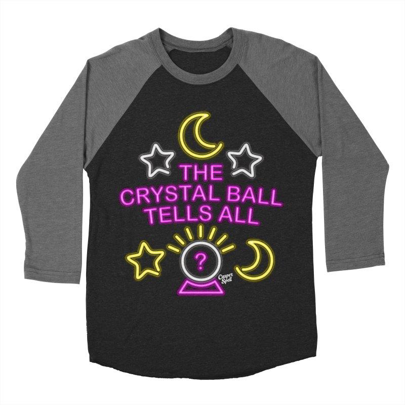 Neon Psychic Crystal Ball Tells All Men's Baseball Triblend T-Shirt by Casper Spell's Shop