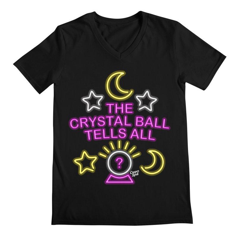 Neon Psychic Crystal Ball Tells All Men's V-Neck by Casper Spell's Shop