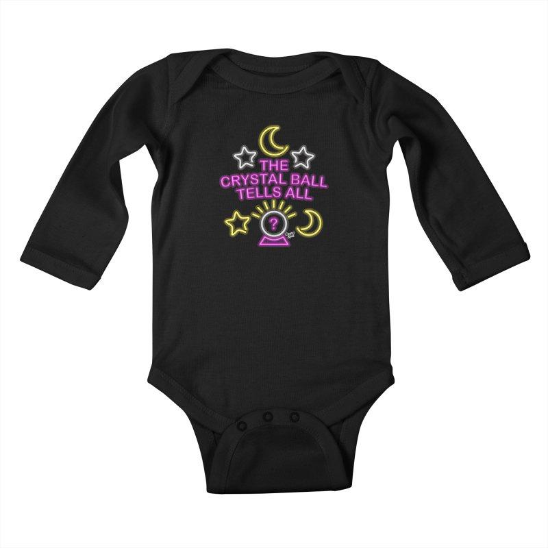 Neon Psychic Crystal Ball Tells All Kids Baby Longsleeve Bodysuit by Casper Spell's Shop