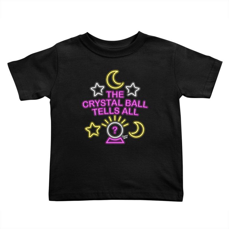 Neon Psychic Crystal Ball Tells All Kids Toddler T-Shirt by Casper Spell's Shop