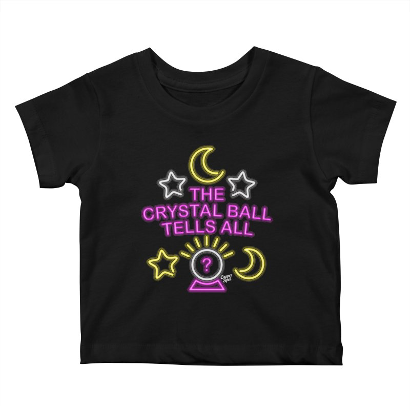 Neon Psychic Crystal Ball Tells All Kids Baby T-Shirt by Casper Spell's Shop