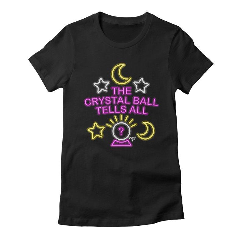 Neon Psychic Crystal Ball Tells All Women's T-Shirt by Casper Spell's Shop
