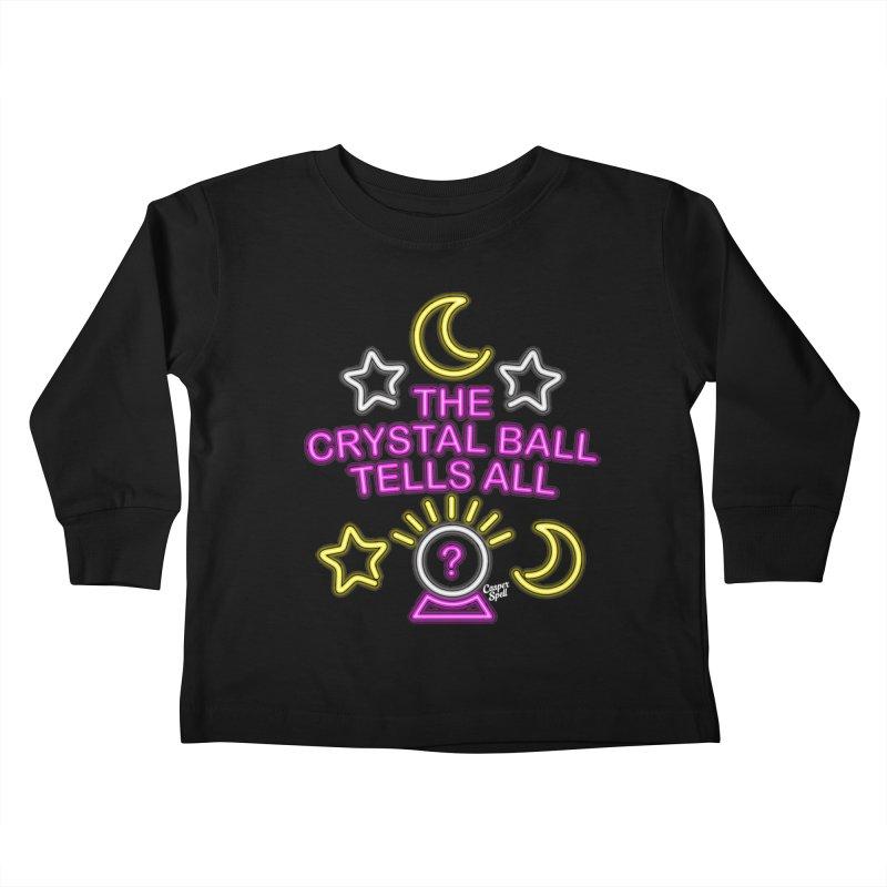 Neon Psychic Crystal Ball Tells All Kids Toddler Longsleeve T-Shirt by Casper Spell's Shop