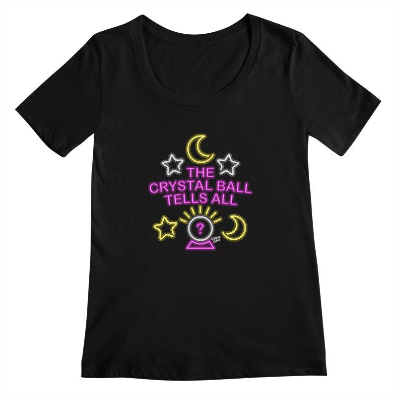 Neon Psychic Crystal Ball Tells All Women's Scoopneck by Casper Spell's Shop