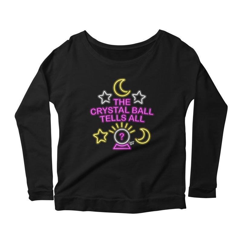 Neon Psychic Crystal Ball Tells All Women's Longsleeve Scoopneck  by Casper Spell's Shop