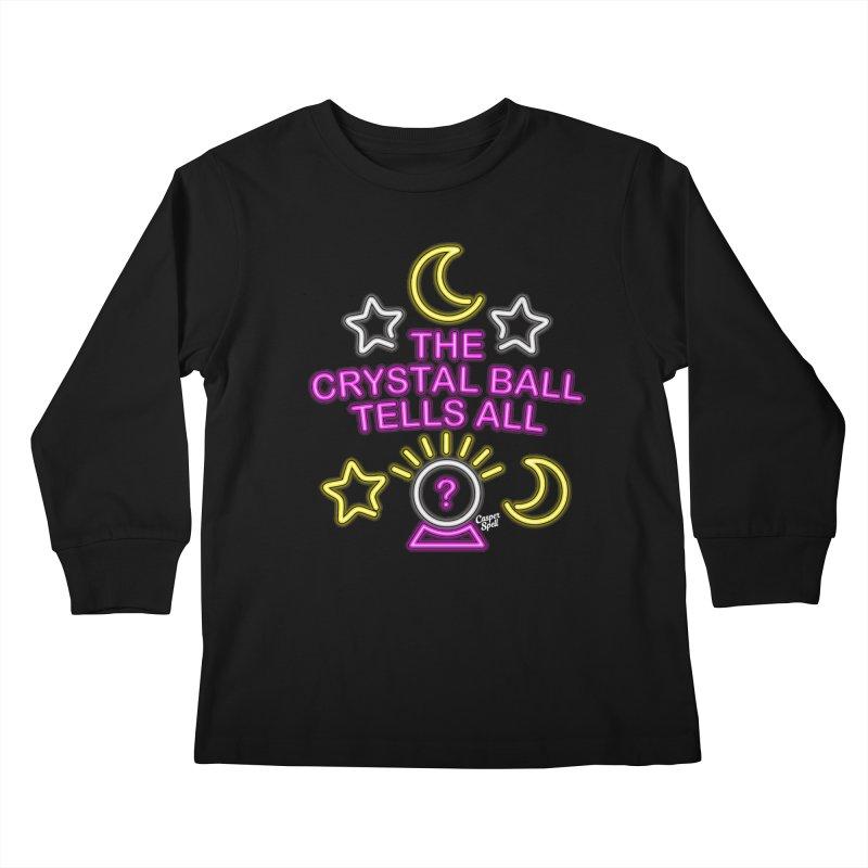 Neon Psychic Crystal Ball Tells All Kids Longsleeve T-Shirt by Casper Spell's Shop