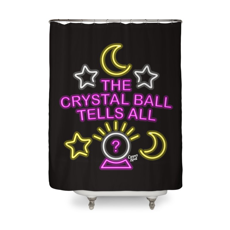 Neon Psychic Crystal Ball Tells All Home Shower Curtain by Casper Spell's Shop