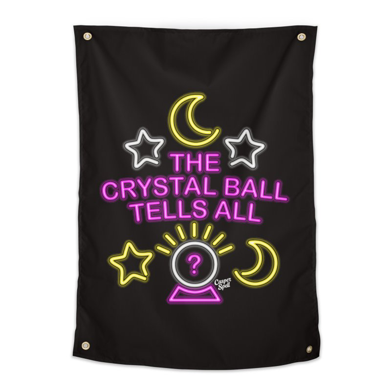 Neon Psychic Crystal Ball Tells All Home Tapestry by Casper Spell's Shop