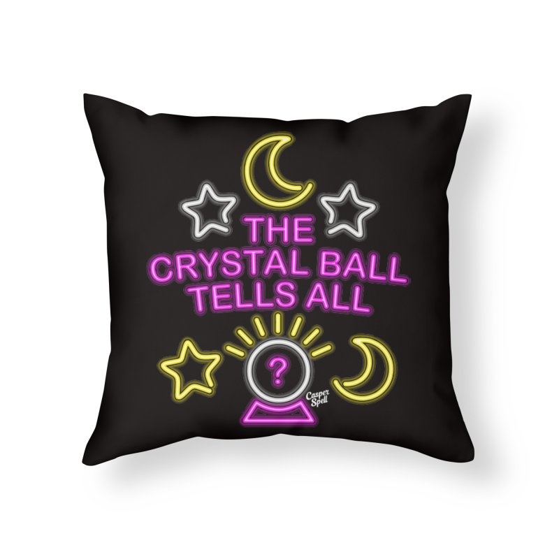 Neon Psychic Crystal Ball Tells All Home Throw Pillow by Casper Spell's Shop