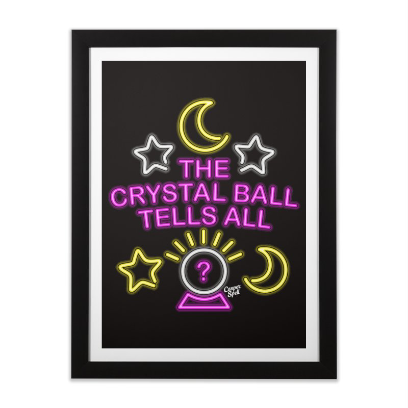 Neon Psychic Crystal Ball Tells All Home Framed Fine Art Print by Casper Spell's Shop