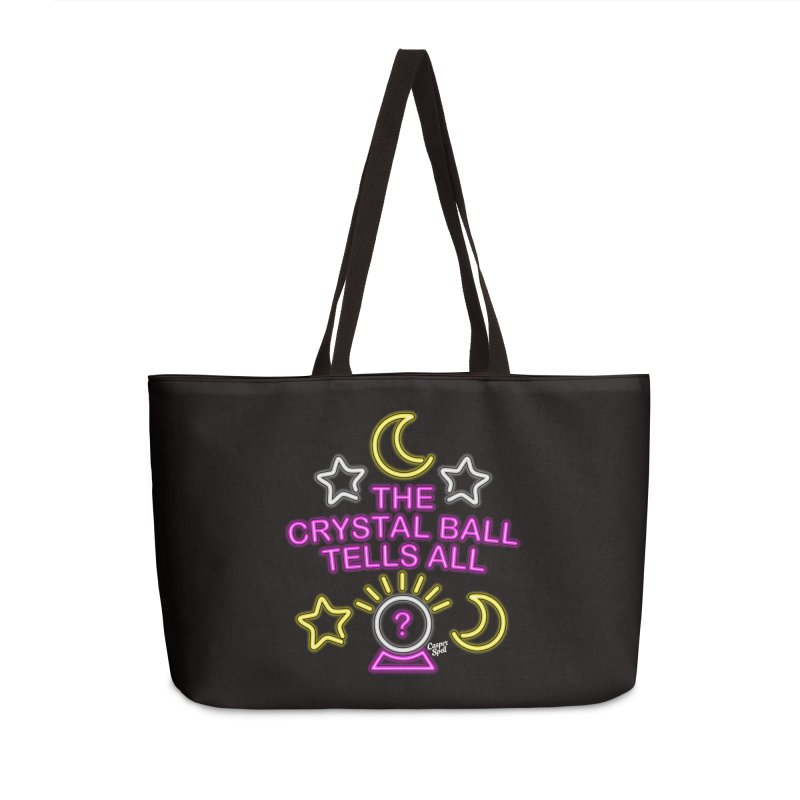 Neon Psychic Crystal Ball Tells All Accessories Weekender Bag Bag by Casper Spell's Shop