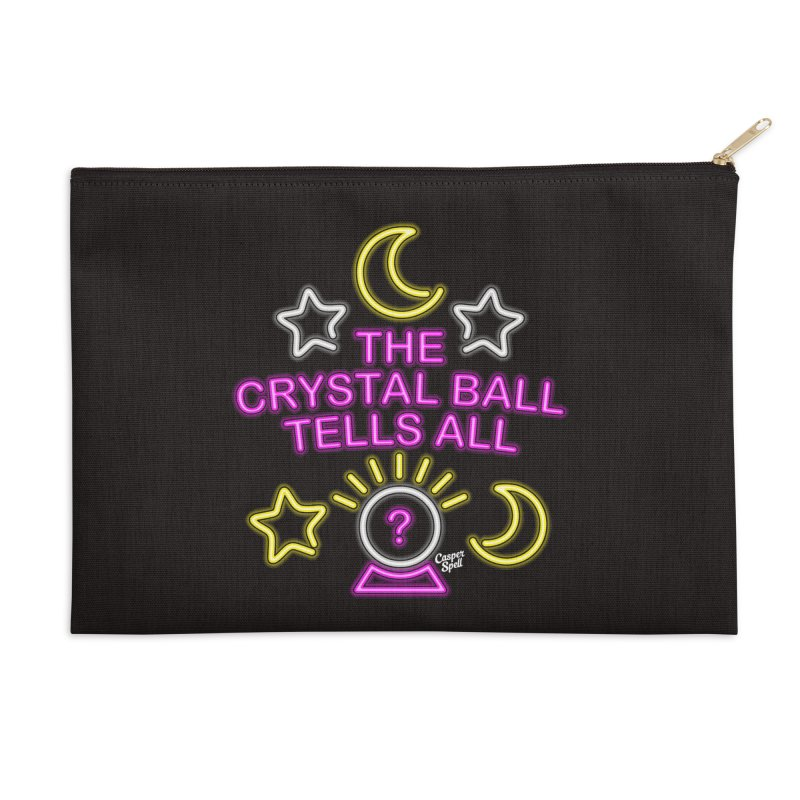Neon Psychic Crystal Ball Tells All Accessories Zip Pouch by Casper Spell's Shop