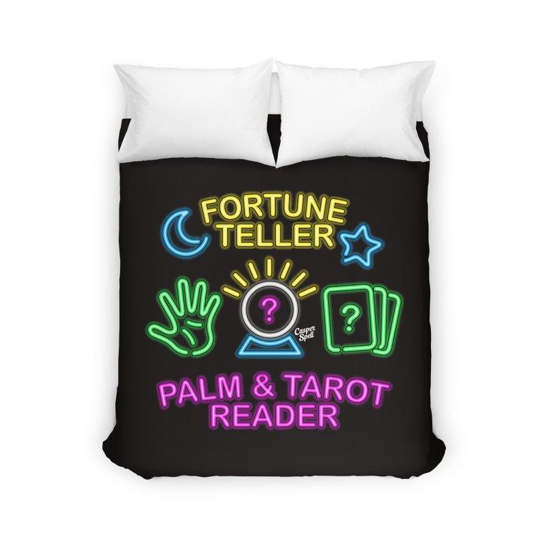 Neon Fortune Teller Palm Tarot Reader Home Duvet by Casper Spell's Shop