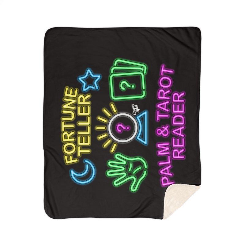 Neon Fortune Teller Palm Tarot Reader Home Sherpa Blanket Blanket by Casper Spell's Shop
