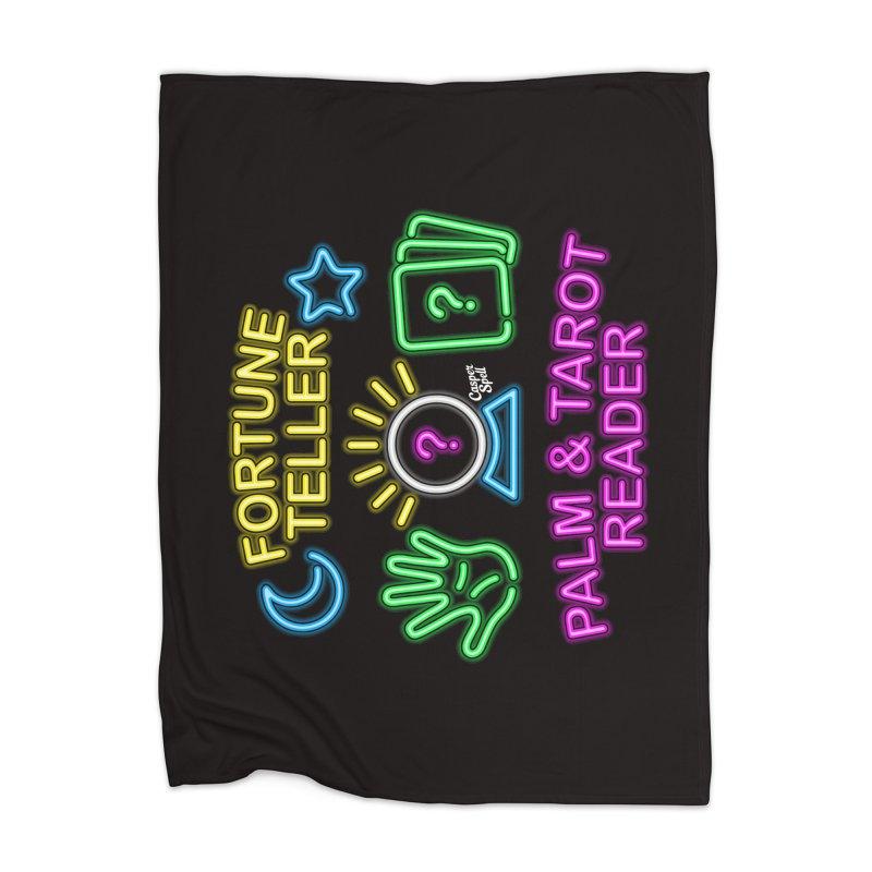 Neon Fortune Teller Palm Tarot Reader Home Blanket by Casper Spell's Shop
