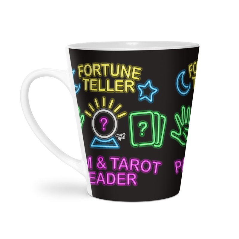 Neon Fortune Teller Palm Tarot Reader Accessories Latte Mug by Casper Spell's Shop