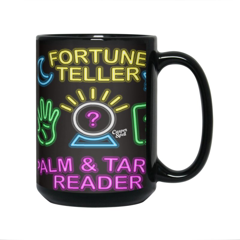 Neon Fortune Teller Palm Tarot Reader Accessories Mug by Casper Spell's Shop