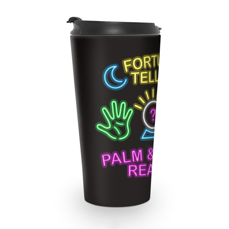 Neon Fortune Teller Palm Tarot Reader Accessories Travel Mug by Casper Spell's Shop