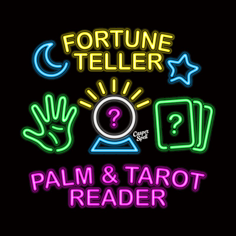 Neon Fortune Teller Palm Tarot Reader Women's Longsleeve T-Shirt by Casper Spell's Shop