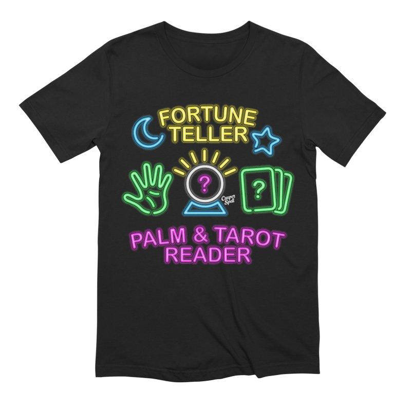 Neon Fortune Teller Palm Tarot Reader Men's T-Shirt by Casper Spell's Shop