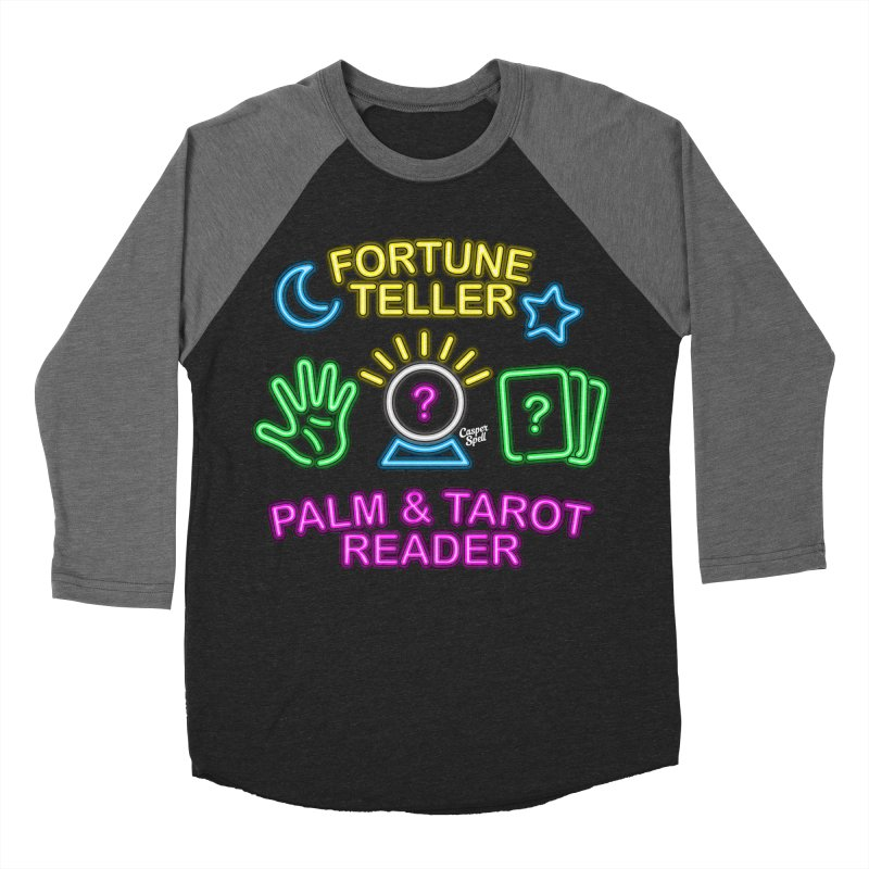 Neon Fortune Teller Palm Tarot Reader Men's Baseball Triblend T-Shirt by Casper Spell's Shop