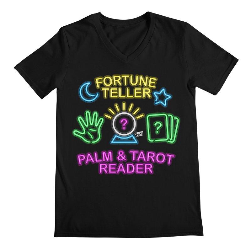Neon Fortune Teller Palm Tarot Reader Men's V-Neck by Casper Spell's Shop
