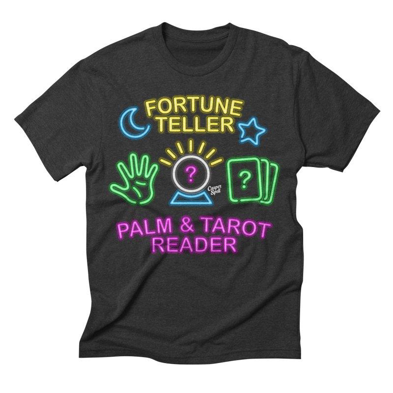 Neon Fortune Teller Palm Tarot Reader Men's Triblend T-shirt by Casper Spell's Shop