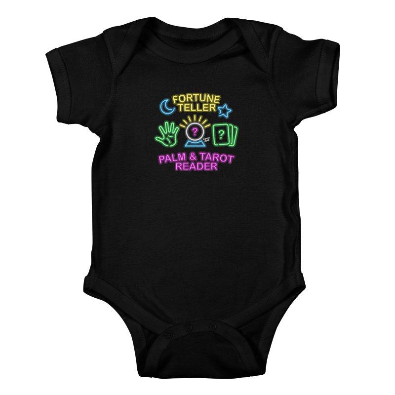 Neon Fortune Teller Palm Tarot Reader Kids Baby Bodysuit by Casper Spell's Shop