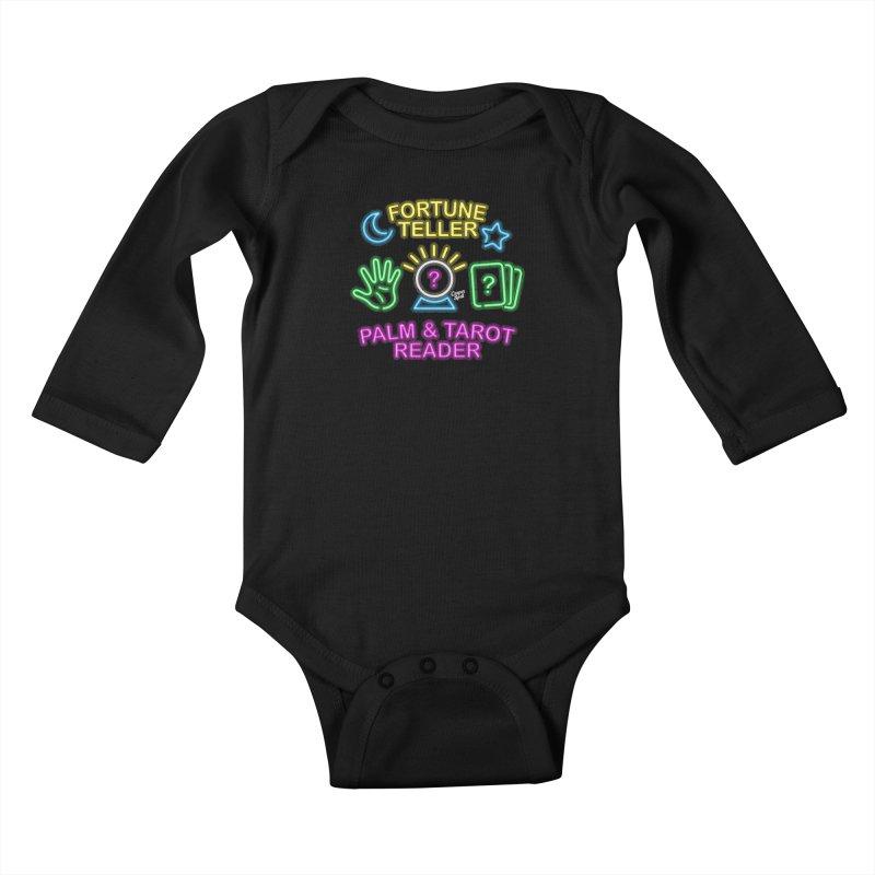 Neon Fortune Teller Palm Tarot Reader Kids Baby Longsleeve Bodysuit by Casper Spell's Shop