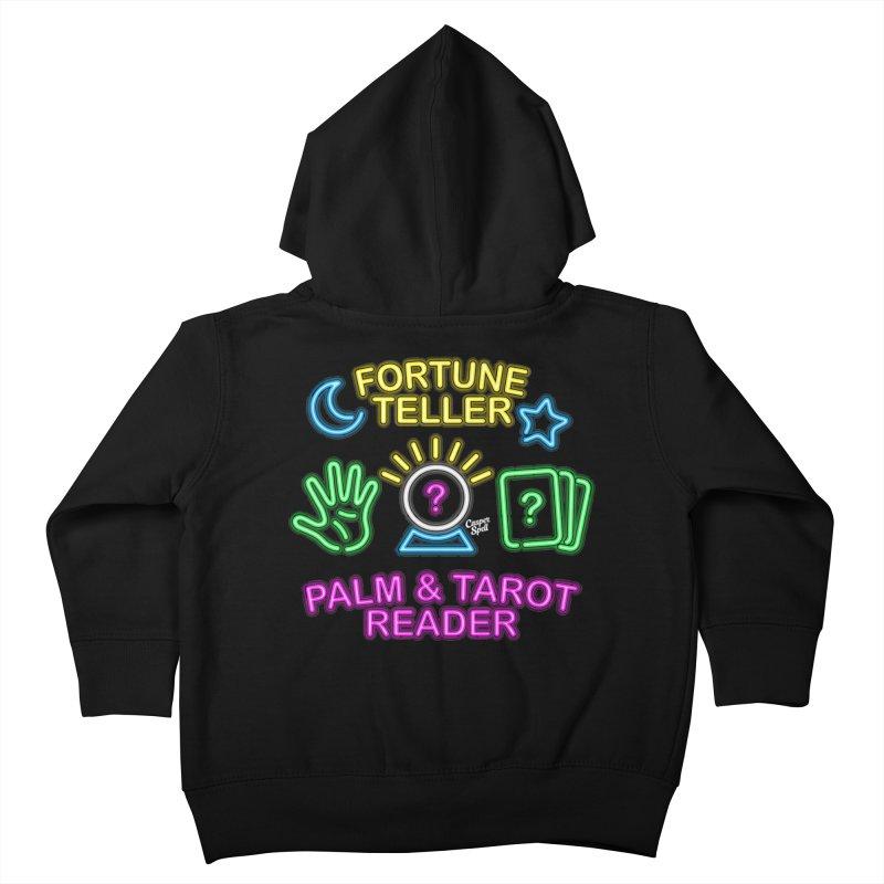 Neon Fortune Teller Palm Tarot Reader Kids Toddler Zip-Up Hoody by Casper Spell's Shop