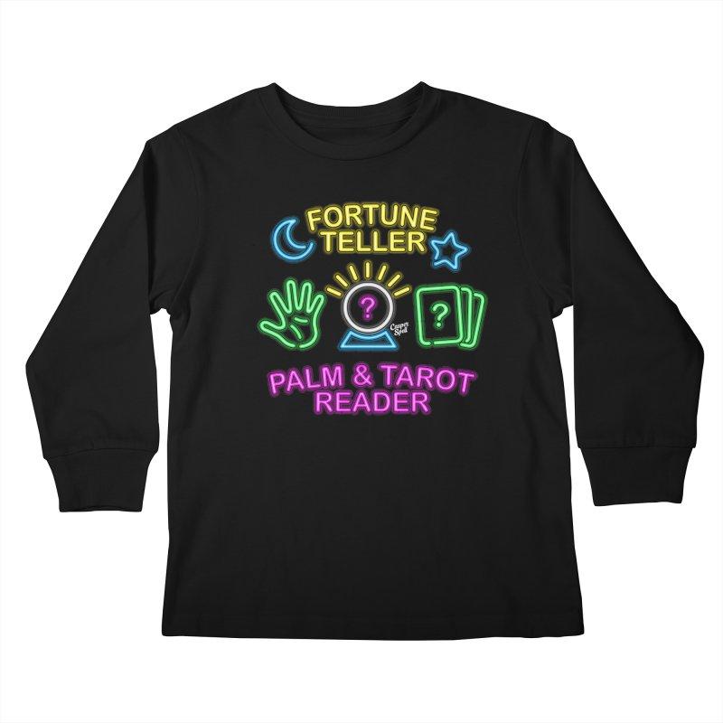 Neon Fortune Teller Palm Tarot Reader Kids Longsleeve T-Shirt by Casper Spell's Shop