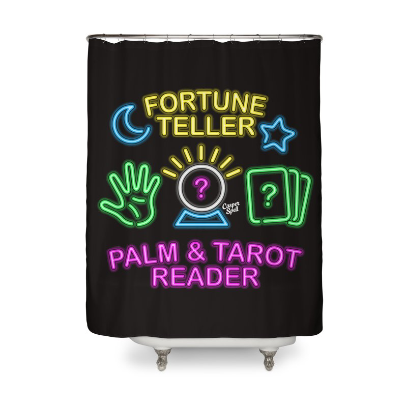 Neon Fortune Teller Palm Tarot Reader Home Shower Curtain by Casper Spell's Shop
