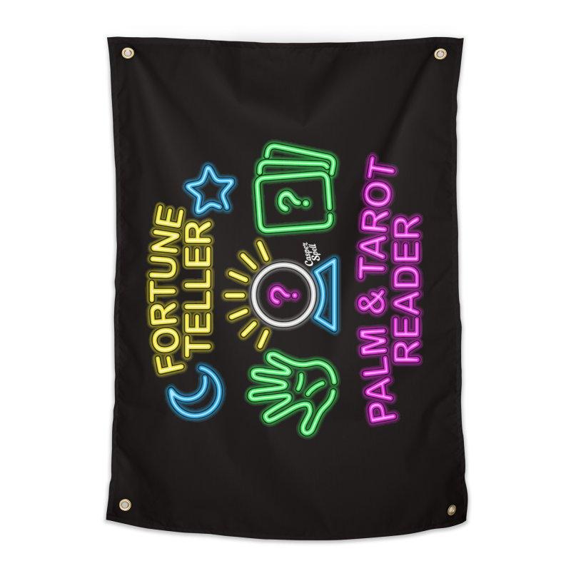 Neon Fortune Teller Palm Tarot Reader Home Tapestry by Casper Spell's Shop