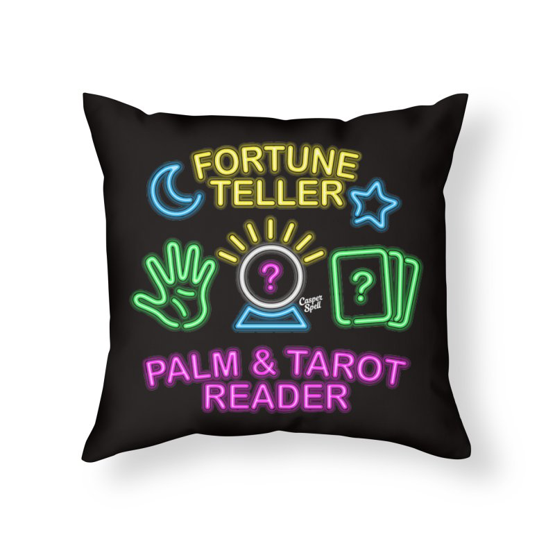 Neon Fortune Teller Palm Tarot Reader Home Throw Pillow by Casper Spell's Shop