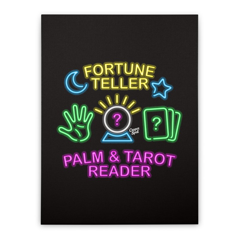 Neon Fortune Teller Palm Tarot Reader Home Stretched Canvas by Casper Spell's Shop