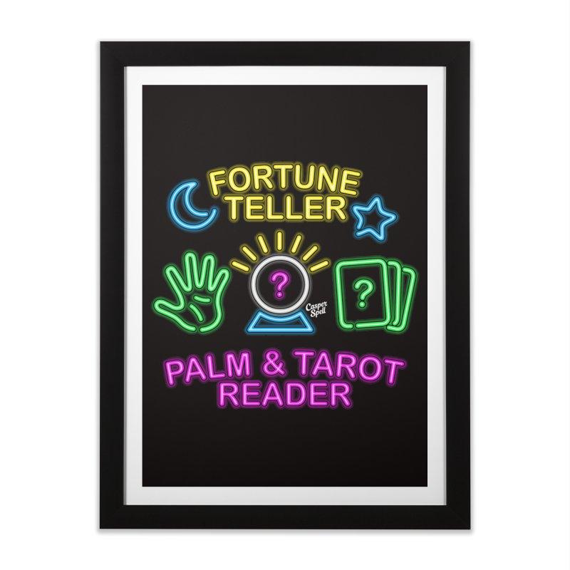 Neon Fortune Teller Palm Tarot Reader Home Framed Fine Art Print by Casper Spell's Shop