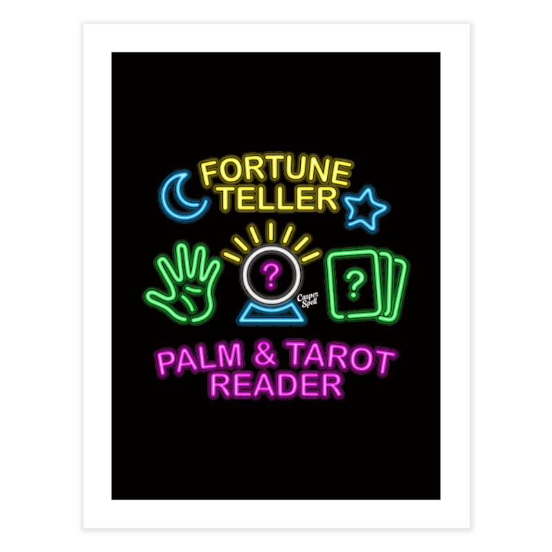 Neon Fortune Teller Palm Tarot Reader Home Fine Art Print by Casper Spell's Shop