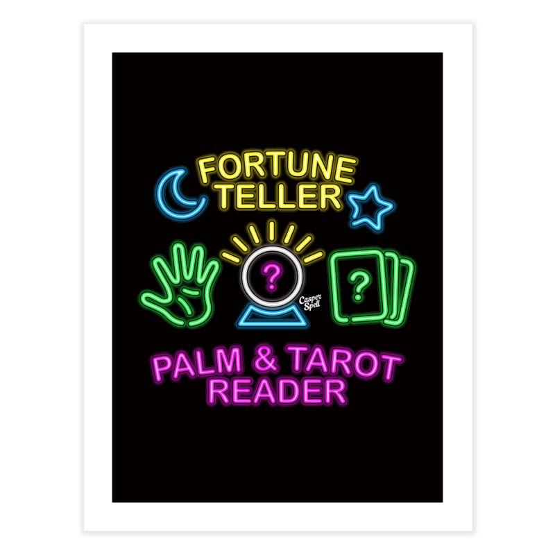 Neon Fortune Teller Palm Tarot Reader Home Fine Art Print by Casper Spell's Shop