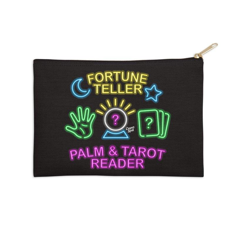Neon Fortune Teller Palm Tarot Reader Accessories Zip Pouch by Casper Spell's Shop