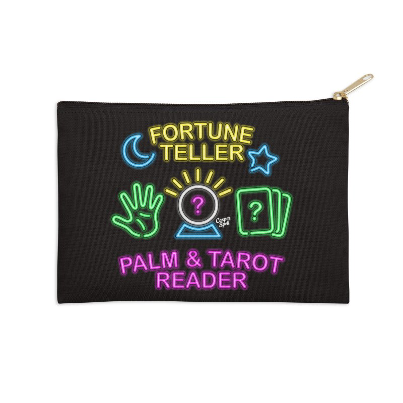 Neon Fortune Teller Palm Tarot Reader Accessories Zip Pouch by Casper Spell's Shop