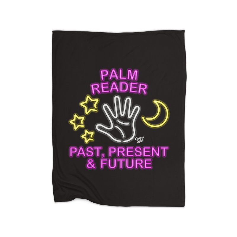 Neon Psychic Fortune Palm Reader Home Blanket by Casper Spell's Shop