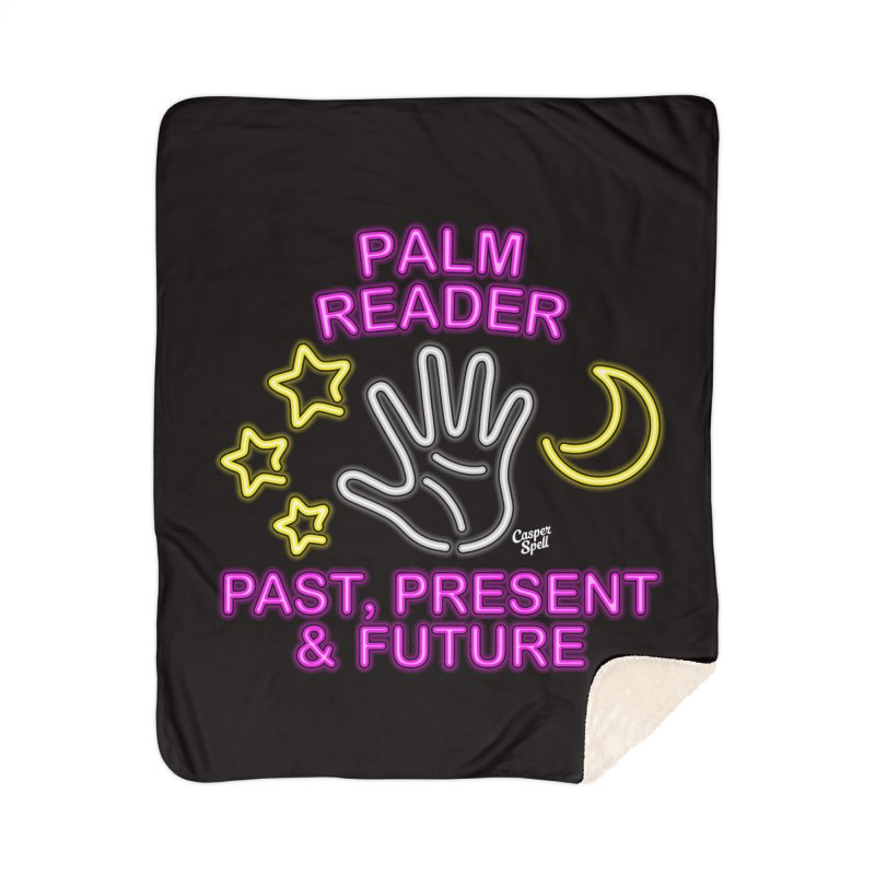 Neon Psychic Fortune Palm Reader Home Sherpa Blanket Blanket by Casper Spell's Shop