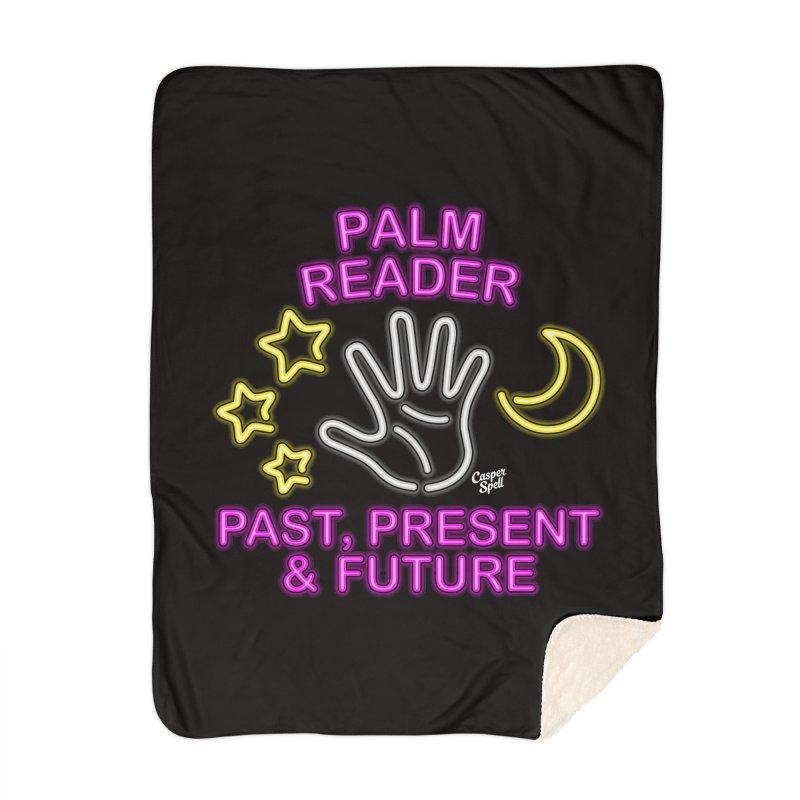 Neon Psychic Fortune Palm Reader Home Blanket by Casper Spell's Shop